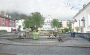 So könnte der Dorfplatz Hergiswil dereinst aussehen. (Bild: Visualisierung: PD)