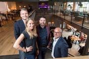 Lukas Gmür, Projektleiter bei der Miggroup, Michèle Mehli, Leiterin Gastrobetrieb, Michel Staubli, Geschäftsleiter der Miggroup, und Rolf Staedler, VR-Präsident der Kulturzentrum Presswerk AG.