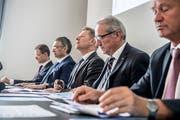 Die Luzerner Regierung mit (von links): Reto Wyss, Guido Graf (beide CVP), Marcel Schwerzmann (parteilos), Robert Küng (FDP) und Paul Winiker (SVP). (Bild: Nadia Schärli, 28. Juni 2017 )