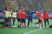 Dirigiert Union nach vorne: Trainer Urs Fischer (in Blau). (Bild: Michael Hundt/Imago (Berlin, 7. November 2018))