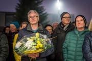 Oliver Gröble nach der Wahl zum neuen Gemeindepräsidenten bei der Wahlfeier auf dem Zentrumsplatz. (Bild: Hanspeter Schiess)