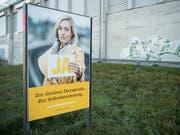 Ungewohnt dezent: Die Stimmbürger haben trotz des neuen Designs die SVP als Urheberin der Plakate erkannt. (Bild: KEYSTONE/PETER SCHNEIDER)