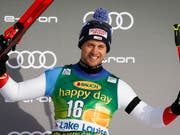 Mauro Caviezel freut sich über seinen zweiten Podestplatz im Weltcup (Bild: KEYSTONE/AP The Canadian Press/JEFF MCINTOSH)