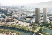 Das 570 Millionen Franken teure Projekt «Ensemble» sieht 174 Genossenschaftswohnungen, ein Stadion für 18'000 Zuschauer und zwei 137 Meter hohe Wohn- und Bürotürme mit 600 Wohnungen vor. (Bild: Nightnurse images)
