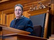 Sänderatspräsident Jean-René Fournier (CVP) hält seine Antrittsrede in der kleinen Kammer. (Bild: KEYSTONE/ANTHONY ANEX)