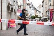 Die Polizei riegelt die Altstadt von Schaffhausen grossräumig ab. (Bild: Keystone/24. Juli 2017)