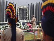 Indische Polizisten gedenken der Opfer der Terrorangriffe in Mumbai vor 10 Jahren - unter den 166 toten waren auch mehr als ein Dutzend Polizisten. (Bild: KEYSTONE/AP/RAFIQ MAQBOOL)