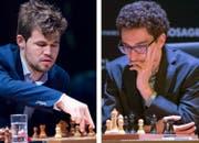 Sitzen am Brett ohne zu schwitzen: Magnus Carlsen (links) und Fabiano Caruana. (Bilder: AP/DPA)