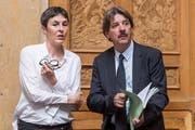 Wird sie seine Nachfolgerin beim Schweizerischen Gewerkschaftsbund? Barbara Gysi und Paul Rechsteiner im Bundeshaus. (Bild: Keystone/Alessandro della Valle)