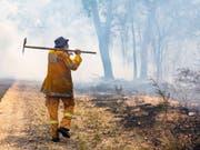Verheerende Buschfeuer: Ein Feuerwehrmann in Deepwater bei Bundaberg, Queensland, Australien. (Bild: KEYSTONE/AP QLD Fire and Emergency)