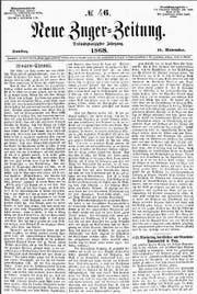 Die Ausgabe der «Neuen Zuger-Zeitung» vom 14. November 1868.