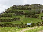 Auch ein immaterielles Kulturgut: Lawinenverbauungen am Chüenihorn oberhalb von St. Antoenien GR. (Bild: KEYSTONE/ARNO BALZARINI)