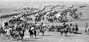 Das siebte Kavallerieregiment mit Artillerie und Planwagen 1874 im Dakota-Territorium. (Bild: The National Archives, W.H. Illingworth/Heimatkunde Wig)