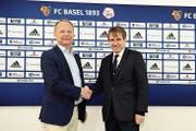 DSM-Chef Christoph Goppelsroeder mit FCB-Präsident Bernhard Burgener. (Bild: PD)