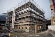 Wächst um einen «Stamm» aus Beton: Das neue Bürohaus von Holzbau Küng. (Bild: Corinne Glanzmann (Alpnach, 28. November 2018))