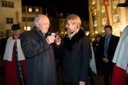 29. November 2017, Hofplatz in Wil: Im Beisein von Bundesrat Johann Schneider-Ammann wird Karin Keller-Sutter als Ständeratspräsidentin in ihrer Heimatstadt empfangen. (Bild: red)