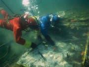 Ein Unesco-Abkommen soll Pfahlbauten in der Schweiz schützen - ebenso wie Unterwasser-Kulturgüter weltweit. So möchte es der Bundesrat. Im Bild Forschungsarbeiten an einer Siedlung im Kanton Zürich. (Bild: KEYSTONE/BAK / Amt fuer Staedtebau)