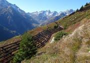 Der Zustand der Rinistock-Verbauung oberhalb von Meien-Dörfli wird laufend kontrolliert. (Bild: Abteilung Naturgefahren des Kantons Uri)