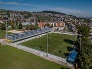 Das Stadion Kleinfeld - links im Hintergrund ist die Grünfläche mit Beachvolley-Feldern, Rasen und Leichtathletikanlage zu sehen. Bild: Pius Amrein (Kriens, 26. September 2018).