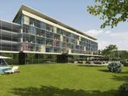 Das Hotelprojekt der Wohnbaugenossenschaft Bad Rans in Sevelen SG löste sich in Luft auf. Seit Montag stehen die Verantwortlichen der Baupleite in Mels vor Gericht. (Bild: Visualisierung)