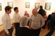 Walter Giger bei der Vernissage in Maryers Altem Hallenbad. (Bild: Markus Bösch)