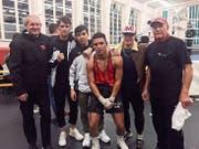 BC Rheintal (von links): Kampfrichter Thomas Walser, Francesco Licchetta, Azghar Mohammadi, Matheus de Sousa, Muhammed Temizer und Trainer Walter Walser. (Bild: pd)