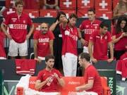 Das Schweizer Davis-Cup-Team wird im Februar zum dritten Mal in Folge ein Heimspiel in der Swiss Tennis Arena in Biel austragen (Bild: KEYSTONE/PETER SCHNEIDER)