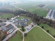 Die Kläranlage Auwiese mit dem derzeitigen Grüngutsammelplatz. Künftig müssen Entsorgende zum Sammelplatz auf dem Areal der Hagenbucher Peter Bringer AG fahren (rechts im Bild). (Bild: Olaf Kühne)