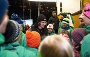 Empfang von Weltmeister Fabian Bösch in Engelberg - einem der erfolgreichsten Obwaldner Sportler. (Bild Corinne Glanzmann, 24. Januar 2015)