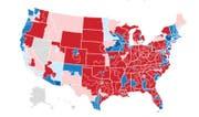 Rot: Republikaner, Blau: Demokraten (Bild: New York Times)