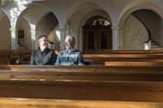 Harmonisches Miteinander: Die beiden Kirchenmusiker Lukas und Josef Bolt in der katholischen Kirche Degersheim. (Bild: Thomas Hary)