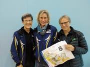 Monika Ammann, Maja Kunz und Judith Tobler (von links) gewinnen die Schweizer Meisterschaft im Team-OL der Seniorinnen mit grossem Vorsprung. (Bild: pd)