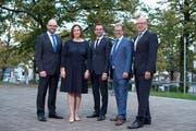 Der Chamer Gemeinderat (von links): Arno Grüter, Christine Blättler-Müller, Drin Alaj, Georges Helfenstein und Rolf Ineichen. (Bild: Maria Schmid (Cham, 7. Oktober 2018 ))
