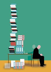 Kein Turm mit Unerledigtem ist zu hoch, um nicht noch schnell etwas anderes «Wichtiges» zu checken. Illustration: Patric Sandri