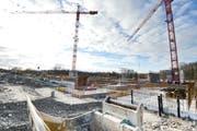 Pläne für Baustellen wie hier beim Rechenzentrum Campus in Frauenfeld könnten in Zukunft computergesteuert funktionieren. (Bild: Donato Caspari)