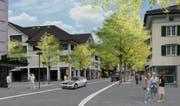 So soll die Poststrasse nach den Vorstellungen des Gemeinderats von Wattwil künftig aussehen. (Bild: PD)