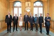 Der Bundesrat ist seit vergangenem Mittwoch neu zusammengesetzt. Von links: Alain Berset (SP), Ueli Maurer (SVP), Simonetta Sommaruga (SP), Guy Parmelin (SVP), Ignazio Cassis (FDP), Viola Amherd (CVP), Karin Keller-Sutter (FDP) und Bundeskanzler Walter Thurnherr. (Bild: Peter Klaunzer/Keystone (Bern, 5. Dezember 2018))