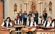Die beiden seltenen Musikformationen mit fünf Zitherfrauen und fünf Mundharmonikern waren für das Publikum bereichernd. (Bild: Heidy Beyeler)