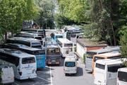Hochbetrieb beim Carparkplatz auf dem Inseli in der Stadt Luzern. (Bild: Urs Flüeler/Keystone (Luzern, 21. Juni 2018)).
