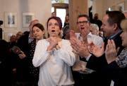 Regierungsrätin Michèle Blöchliger nach Bekanntgabe der Wahlergebnisse im Rathaus Stans. (Bild: Corinne Glanzmann (Stans, 4. März 2018))