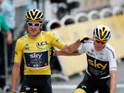 Ende einer Ära: 2019 wird das letzte Jahr des Radsport-Teams Sky mit den Tour-de-France-Siegern Geraint Thomas (li.) und Chris Froome sein (Bild: KEYSTONE/EPA/CHRISTOPHE PETIT TESSON)