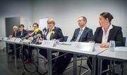 An der Medienkonferenz Untersuchungsbericht Hefenhofen stellte sich die komplette Thurgauer Regierung den Fragen der Medienschaffenden. (Bild: Andrea Stalder, 31.Oktober2018)