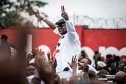 Die Umfragen sprechen für Félix Tshisekedi, den Kandidaten der Opposition. Bild: John Wessels/AFP (Kinshasa, 27. November 2018)