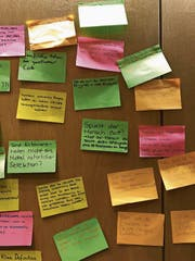 Die ETH-Studenten haben Bemerkenswertes auf die Pinnwand geklebt. (Bild: Bruno Knellwolf)