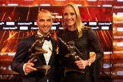 Nino Schurter und Daniela Ryf nach der Verleihung des Credit Suisse Sports Awards. (Bild: Melanie Duchene/Keystone (Zürich, 9. Dezember 2018))
