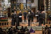 Das Ensemble Corund beeindruckte in der Marienkirche mit Chorwerken aus der Renaissance. (Bild: Patrick Hürlimann (Unterägeri, 1. Dezember 2018))