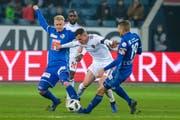 Je länger er in Luzern spielt, desto besser wird er: Marvin Schulz (links). (Bild: Martin Meienberger/Freshfocus (Luzern, 25. November 2018))