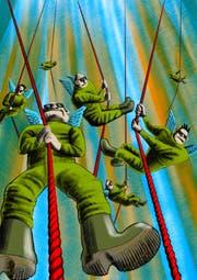 «Stark muskulöse Männer seilten sich aus dem Himmel ab.» – Das Swat-Team des lieben Gottes? (Illustration: Tiemo Wydler)