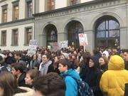Kantischülerinnen und Kantischüler machen gegen den Klimawandel mobil. (Bild: Daniel Walt)
