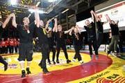 Die Kriessner Ringer feierten in Willisau ihren dritten Meistertitel in Serie. (Bild: Mathias Bühler)